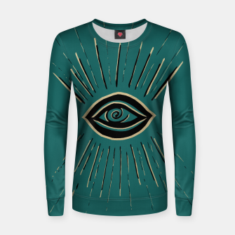 Miniatur Evil Eye Gold Black on Teal #1 #drawing #decor #art Frauen sweatshirt, Live Heroes
