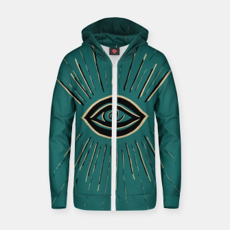 Miniatur Evil Eye Gold Black on Teal #1 #drawing #decor #art Reißverschluss kapuzenpullover, Live Heroes