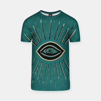 Miniatur Evil Eye Gold Black on Teal #1 #drawing #decor #art T-Shirt, Live Heroes