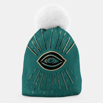 Miniatur Evil Eye Gold Black on Teal #1 #drawing #decor #art Mütze, Live Heroes