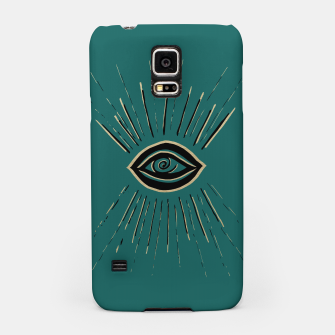 Miniatur Evil Eye Gold Black on Teal #1 #drawing #decor #art Handyhülle für Samsung, Live Heroes