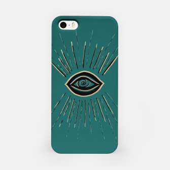 Miniatur Evil Eye Gold Black on Teal #1 #drawing #decor #art iPhone-Hülle, Live Heroes