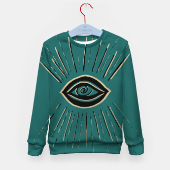 Miniatur Evil Eye Gold Black on Teal #1 #drawing #decor #art Kindersweatshirt, Live Heroes