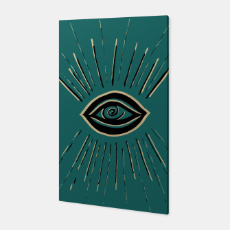 Miniatur Evil Eye Gold Black on Teal #1 #drawing #decor #art Canvas, Live Heroes