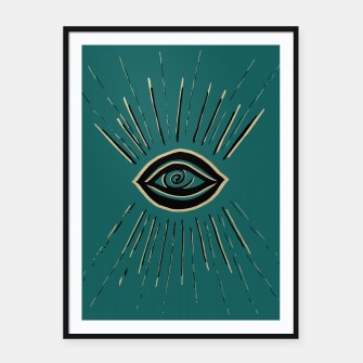 Miniatur Evil Eye Gold Black on Teal #1 #drawing #decor #art Plakat mit rahmen, Live Heroes