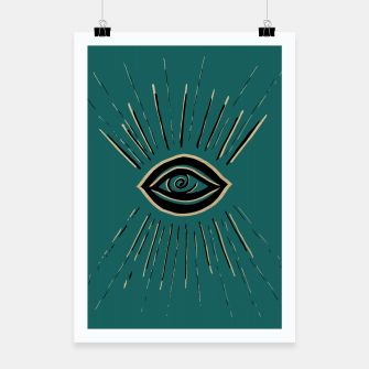 Miniatur Evil Eye Gold Black on Teal #1 #drawing #decor #art Plakat, Live Heroes