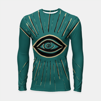 Miniatur Evil Eye Gold Black on Teal #1 #drawing #decor #art Longsleeve rashguard, Live Heroes