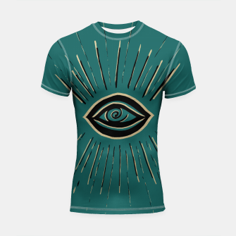 Miniatur Evil Eye Gold Black on Teal #1 #drawing #decor #art Shortsleeve rashguard, Live Heroes