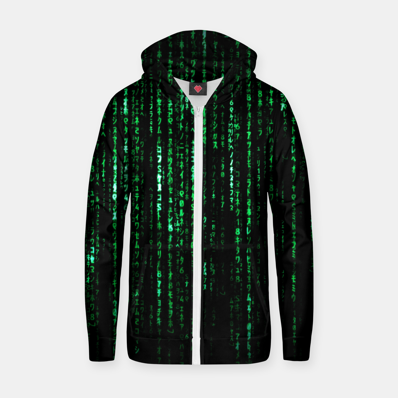 Image of The Matrix Code Zip up hoodie - Live Heroes
