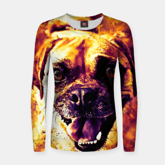 Thumbnail image of happy pug dog wsls Women sweater, Live Heroes