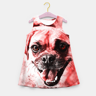Thumbnail image of happy pug dog ws2s Girl's summer dress, Live Heroes