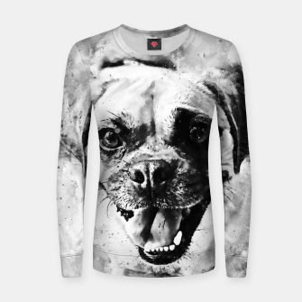 Thumbnail image of happy pug dog wsbw Women sweater, Live Heroes