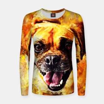 Thumbnail image of happy pug dog wsstd Women sweater, Live Heroes