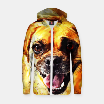 Thumbnail image of happy pug dog wsstd Zip up hoodie, Live Heroes