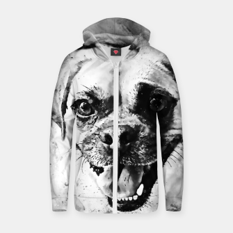 Thumbnail image of happy pug dog wsbw Zip up hoodie, Live Heroes