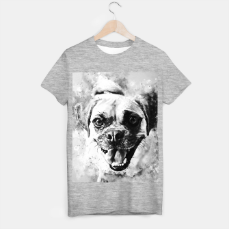 Thumbnail image of happy pug dog wsbw T-shirt regular, Live Heroes
