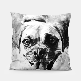 Thumbnail image of happy pug dog wsbw Pillow, Live Heroes