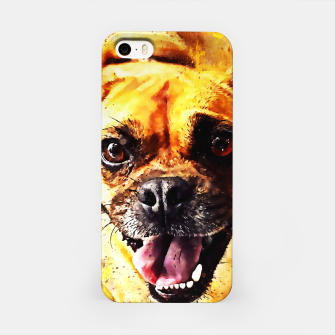 Thumbnail image of happy pug dog wsstd iPhone Case, Live Heroes