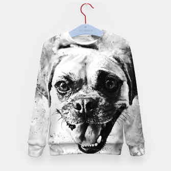 Thumbnail image of happy pug dog wsbw Kid's sweater, Live Heroes