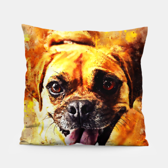Thumbnail image of happy pug dog wsstd Pillow, Live Heroes