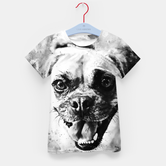 Thumbnail image of happy pug dog wsbw Kid's t-shirt, Live Heroes