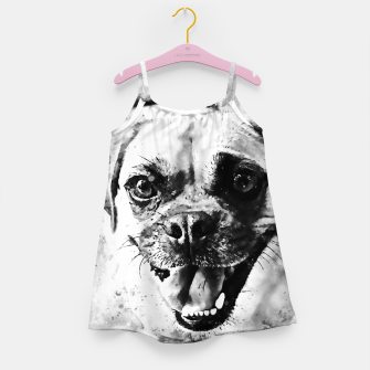 Thumbnail image of happy pug dog wsbw Girl's dress, Live Heroes