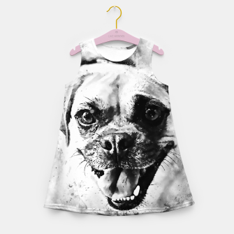 Thumbnail image of happy pug dog wsbw Girl's summer dress, Live Heroes