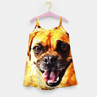 Thumbnail image of happy pug dog wsstd Girl's dress, Live Heroes