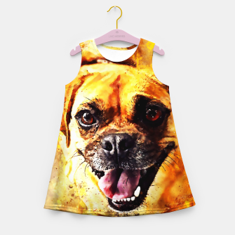 Thumbnail image of happy pug dog wsstd Girl's summer dress, Live Heroes