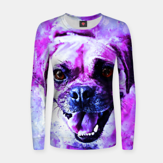Thumbnail image of happy pug dog wslbb Women sweater, Live Heroes