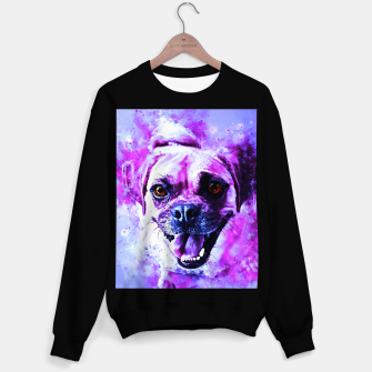 Thumbnail image of happy pug dog wslbb Sweater regular, Live Heroes