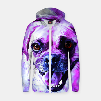 Thumbnail image of happy pug dog wslbb Zip up hoodie, Live Heroes