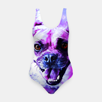 Thumbnail image of happy pug dog wslbb Swimsuit, Live Heroes