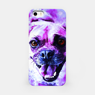 Thumbnail image of happy pug dog wslbb iPhone Case, Live Heroes