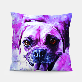 Thumbnail image of happy pug dog wslbb Pillow, Live Heroes