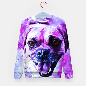 Thumbnail image of happy pug dog wslbb Kid's sweater, Live Heroes