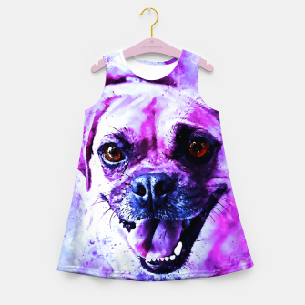 Thumbnail image of happy pug dog wslbb Girl's summer dress, Live Heroes