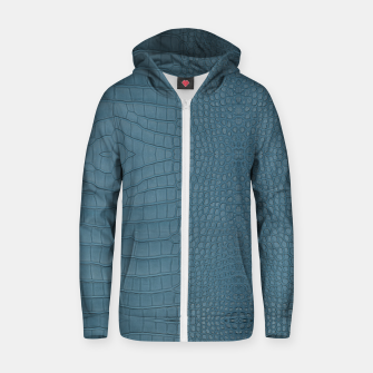 Miniatur Turquoise Alligator Leather Print Zip up hoodie, Live Heroes