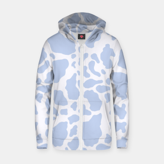 Thumbnail image of White Blue Cow Print Zip up hoodie, Live Heroes