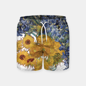 Thumbnail image of Van Gogh and flowers Swim Shorts, Live Heroes