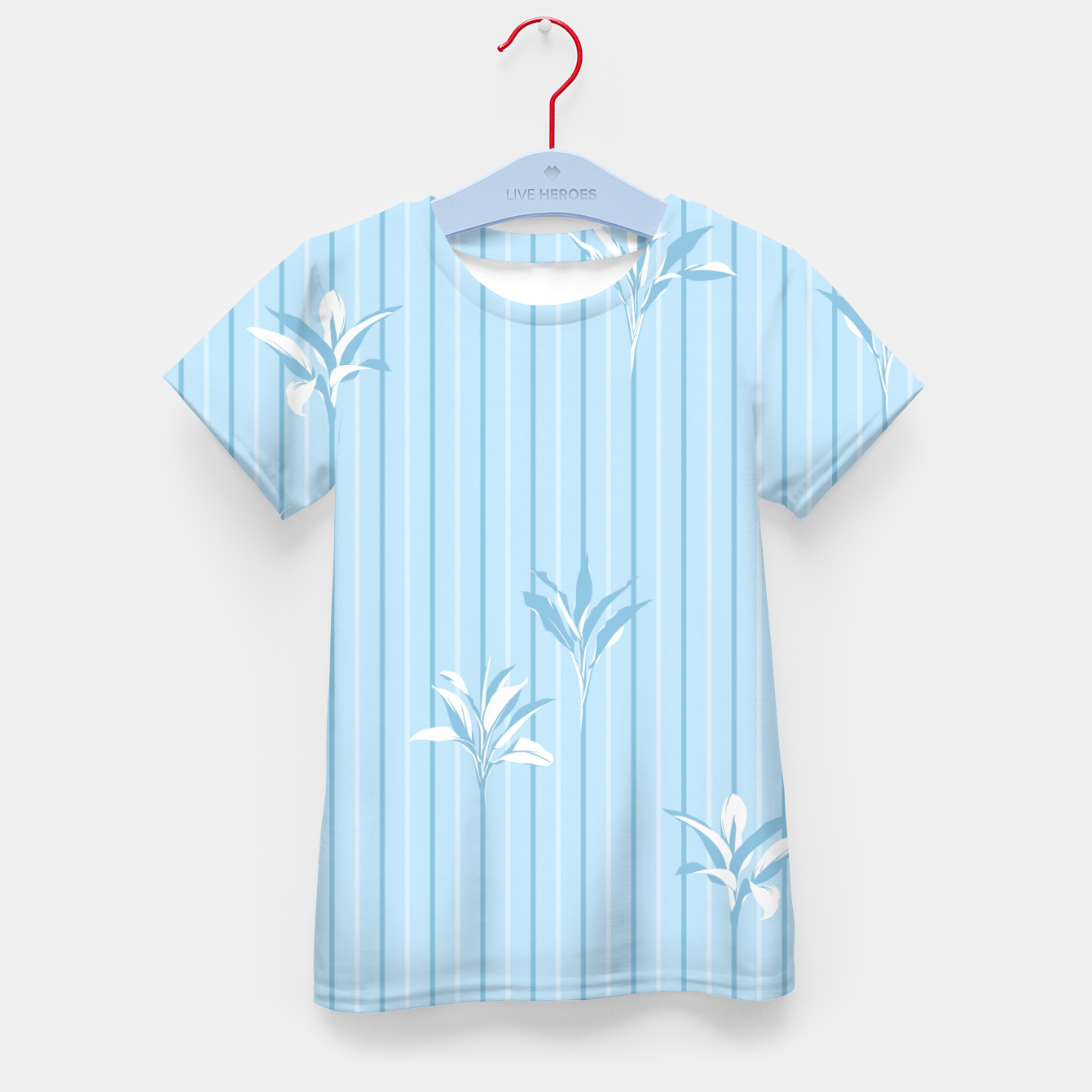Image of Blue and white Leaves & Lines Kid's t-shirt - Live Heroes