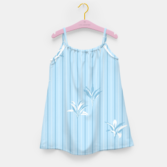 Blue and white Leaves & Lines Girl's dress thumbnail image