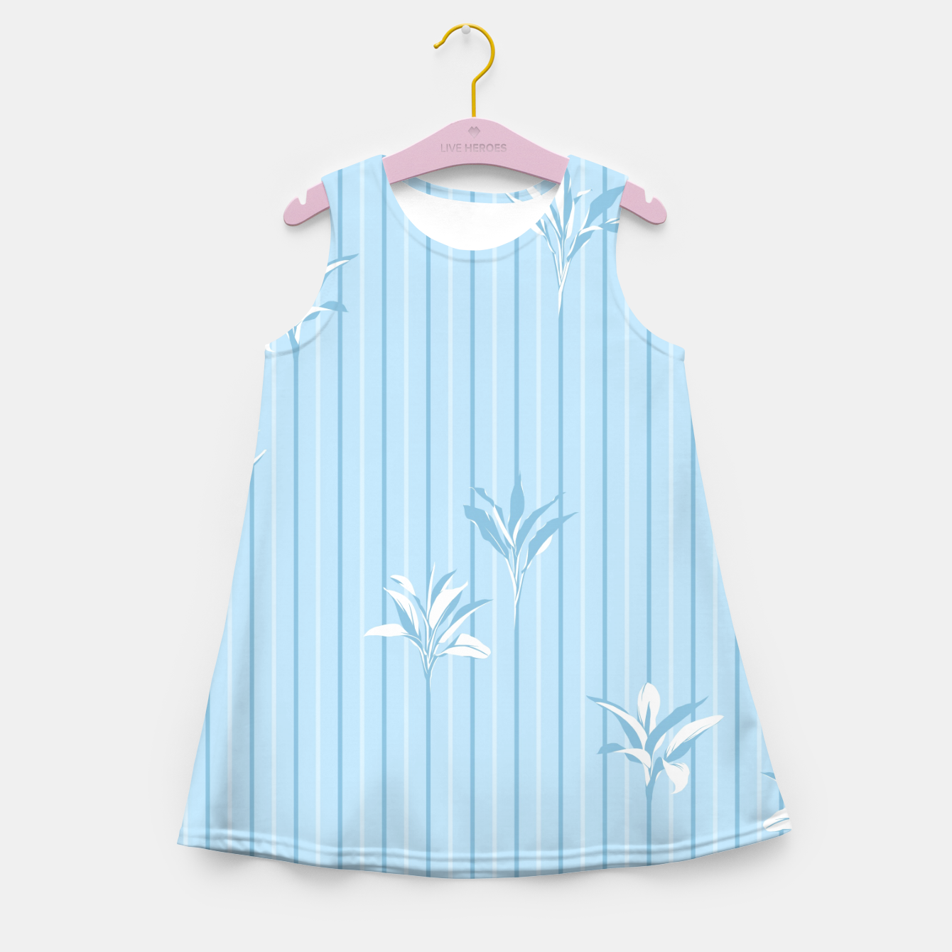Image of Blue and white Leaves & Lines Girl's summer dress - Live Heroes