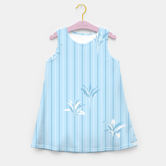 Blue and white Leaves & Lines Girl's summer dress thumbnail image