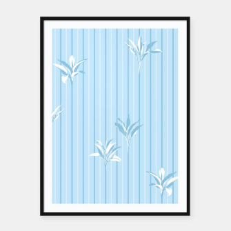 Blue and white Leaves & Lines Framed poster thumbnail image