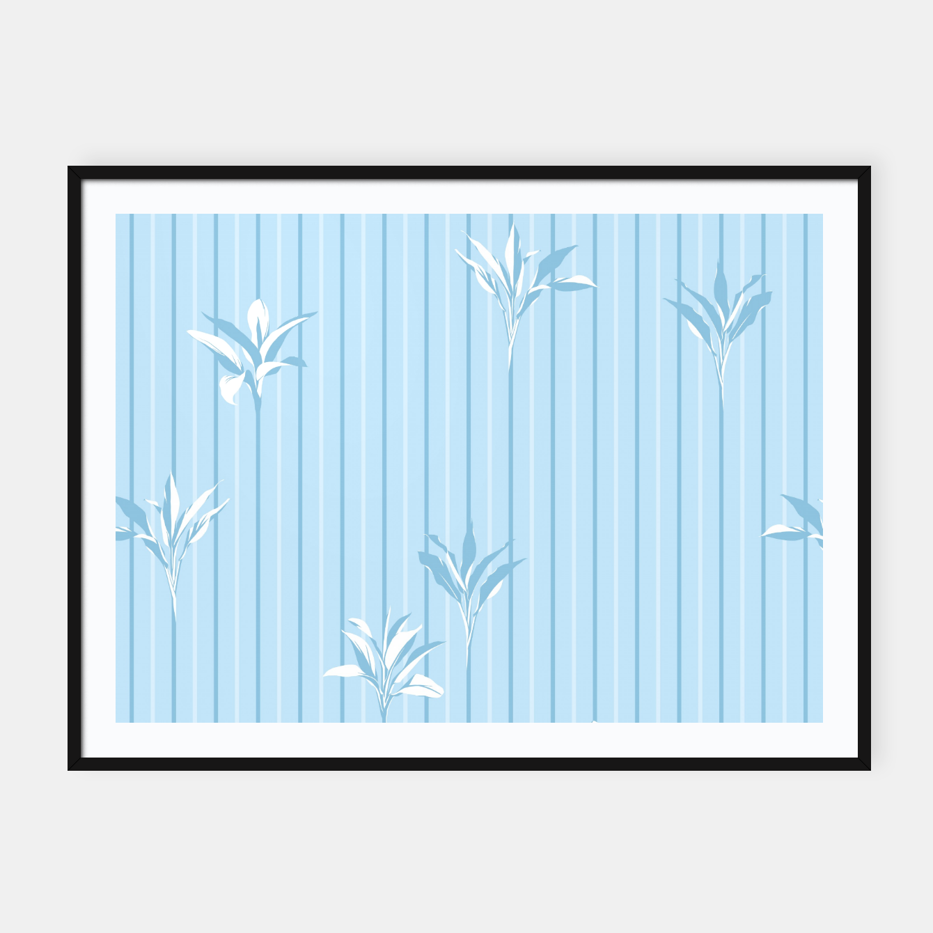 Image of Blue and white Leaves & Lines Framed poster - Live Heroes