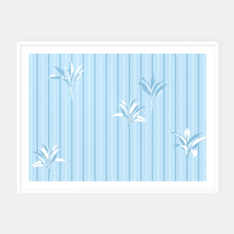 Thumbnail image of Blue and white Leaves & Lines Framed poster, Live Heroes