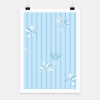 Blue and white Leaves & Lines Poster thumbnail image