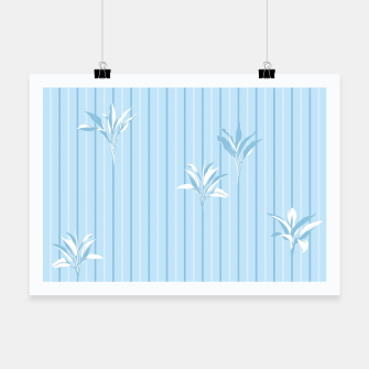 Thumbnail image of Blue and white Leaves & Lines Poster, Live Heroes
