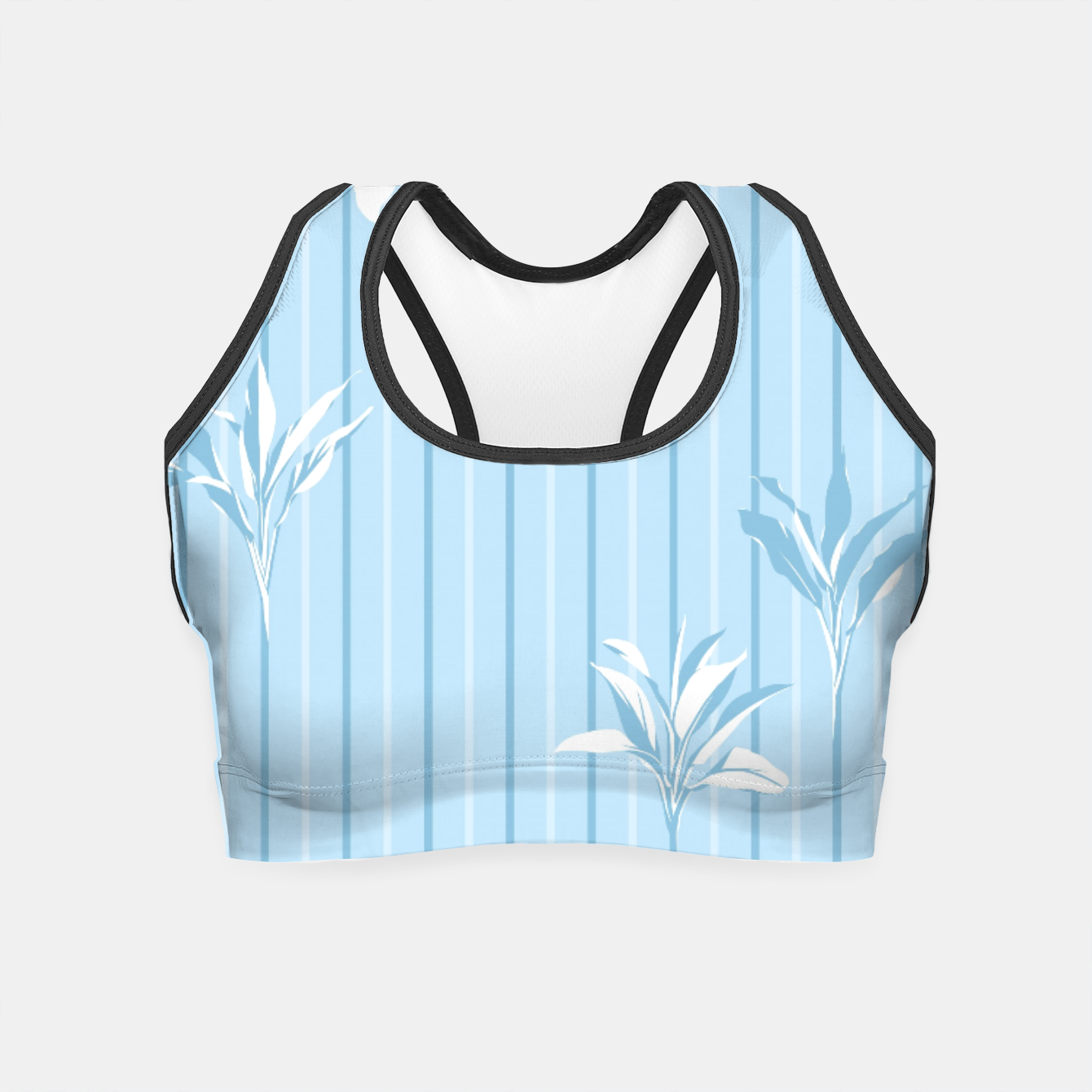 Image of Blue and white Leaves & Lines Crop Top - Live Heroes